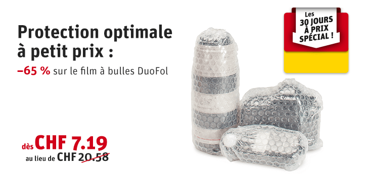 Prix spécial 30 jours : Film à bulles DuoFol, bicouche